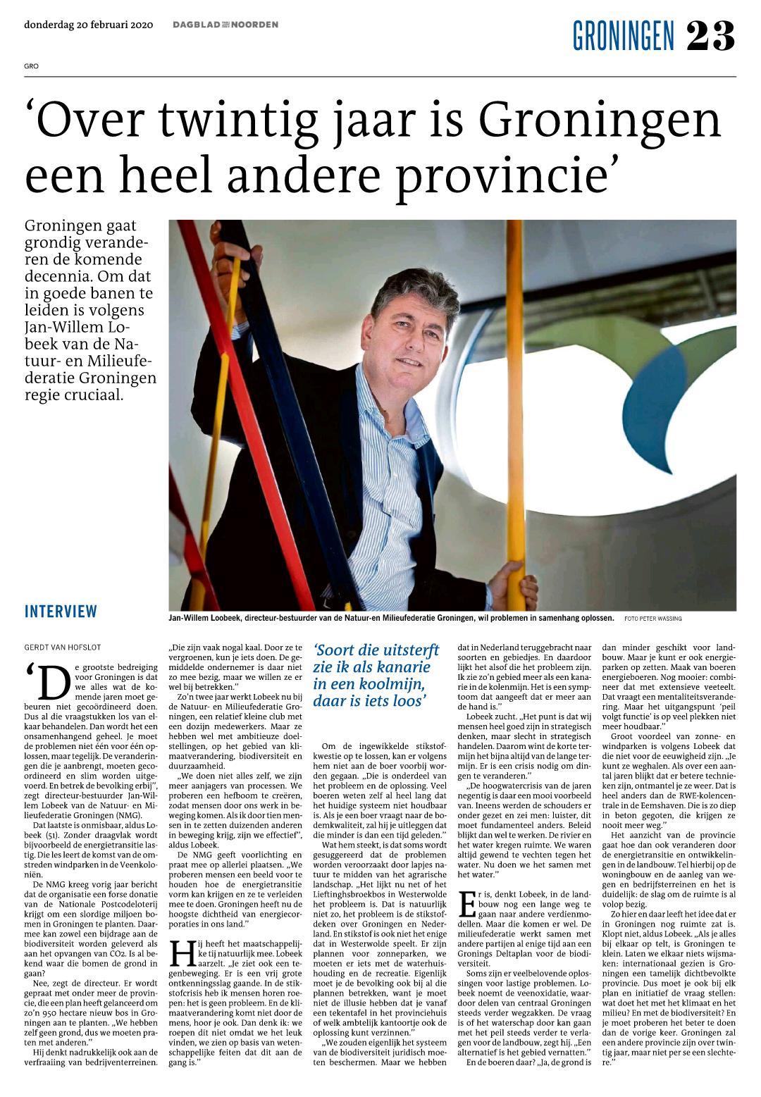 Interview: 'Over twintig jaar is Groningen een heel andere provincie. Maar niet per se slechter'
