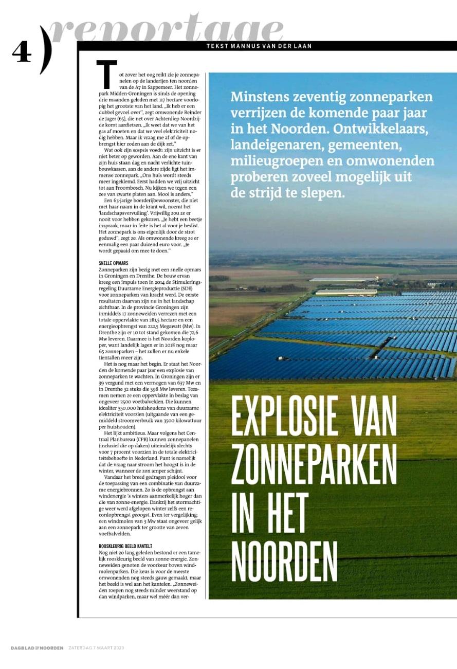 DvhN 7 maart 2020: 'Explosie van zonneparken in Drenthe en Groningen'