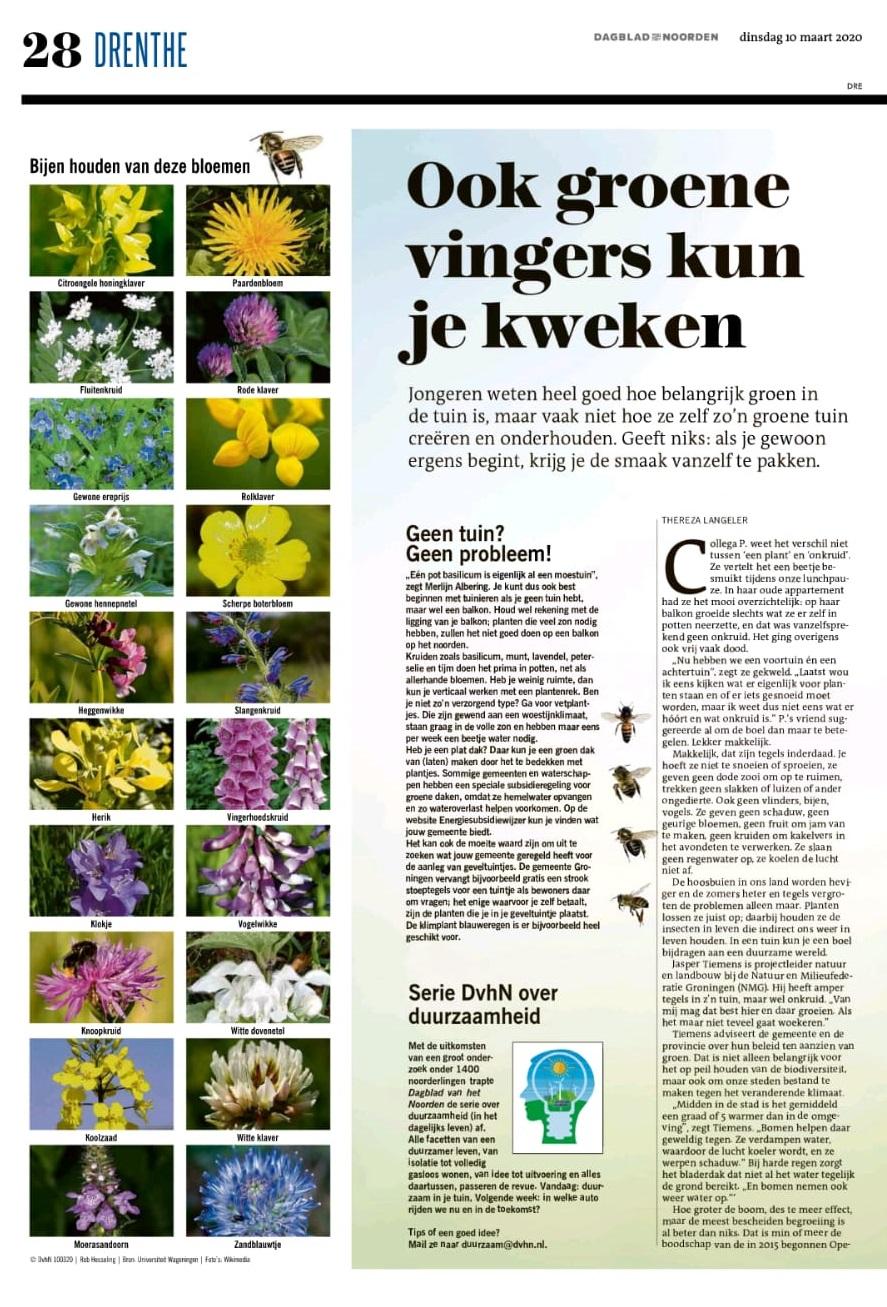 DvhN 10 maart 2020: 'Ook groene vingers kun je kweken'