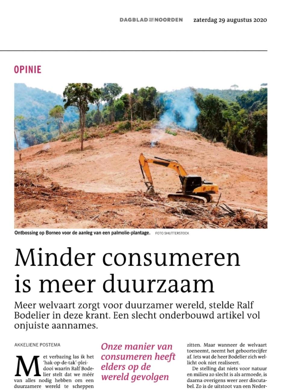 DvhN 29 augustus: Minder consumeren is meer duurzaam