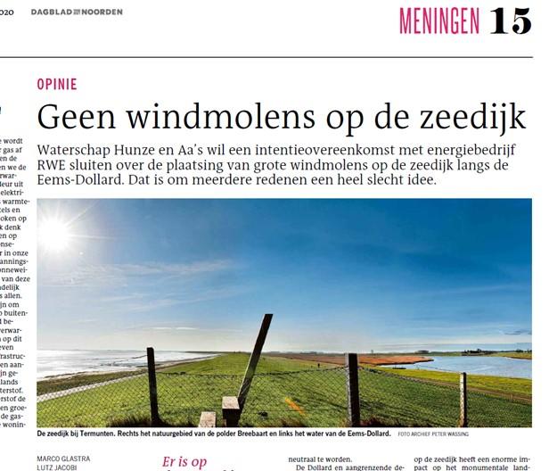DvhN 1 december: Geen windmolens op de zeedijk